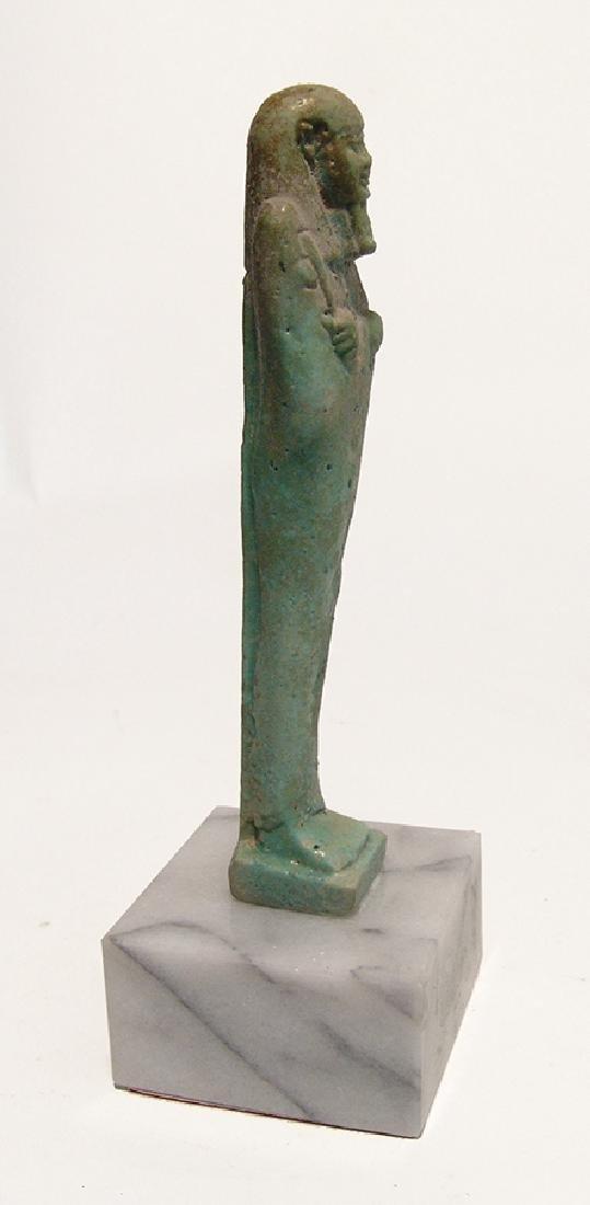 A beautiful Egyptian pale blue-green faience ushabti - 4