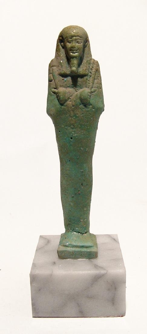A beautiful Egyptian pale blue-green faience ushabti - 5
