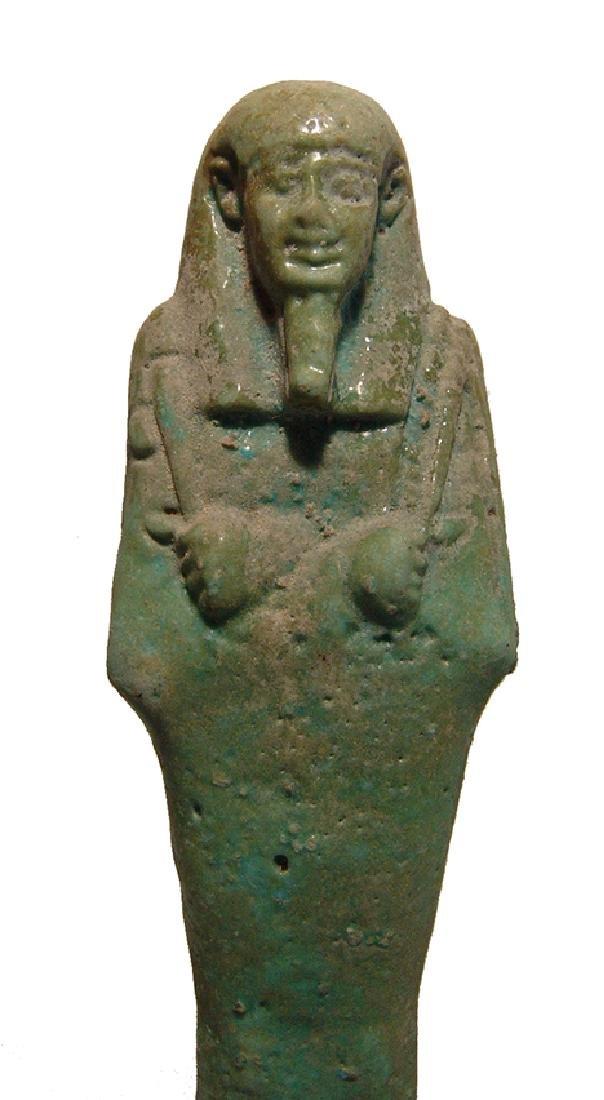 A beautiful Egyptian pale blue-green faience ushabti - 6