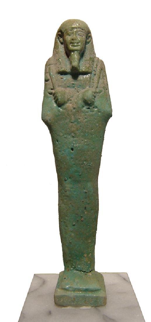 A beautiful Egyptian pale blue-green faience ushabti - 7