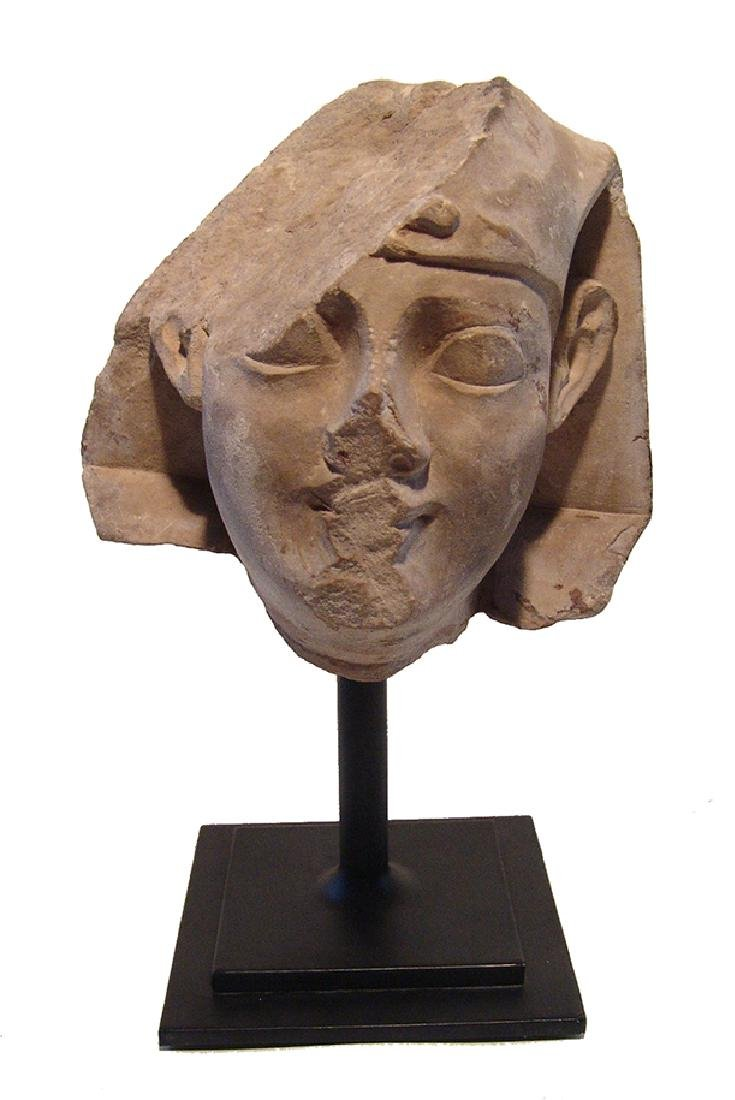 Egyptian limestone head of a pharaoh, Late Period