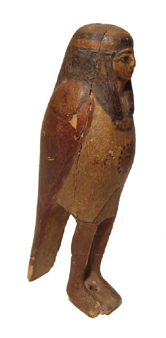 Handsome Egyptian wooden Ba bird, Late Period