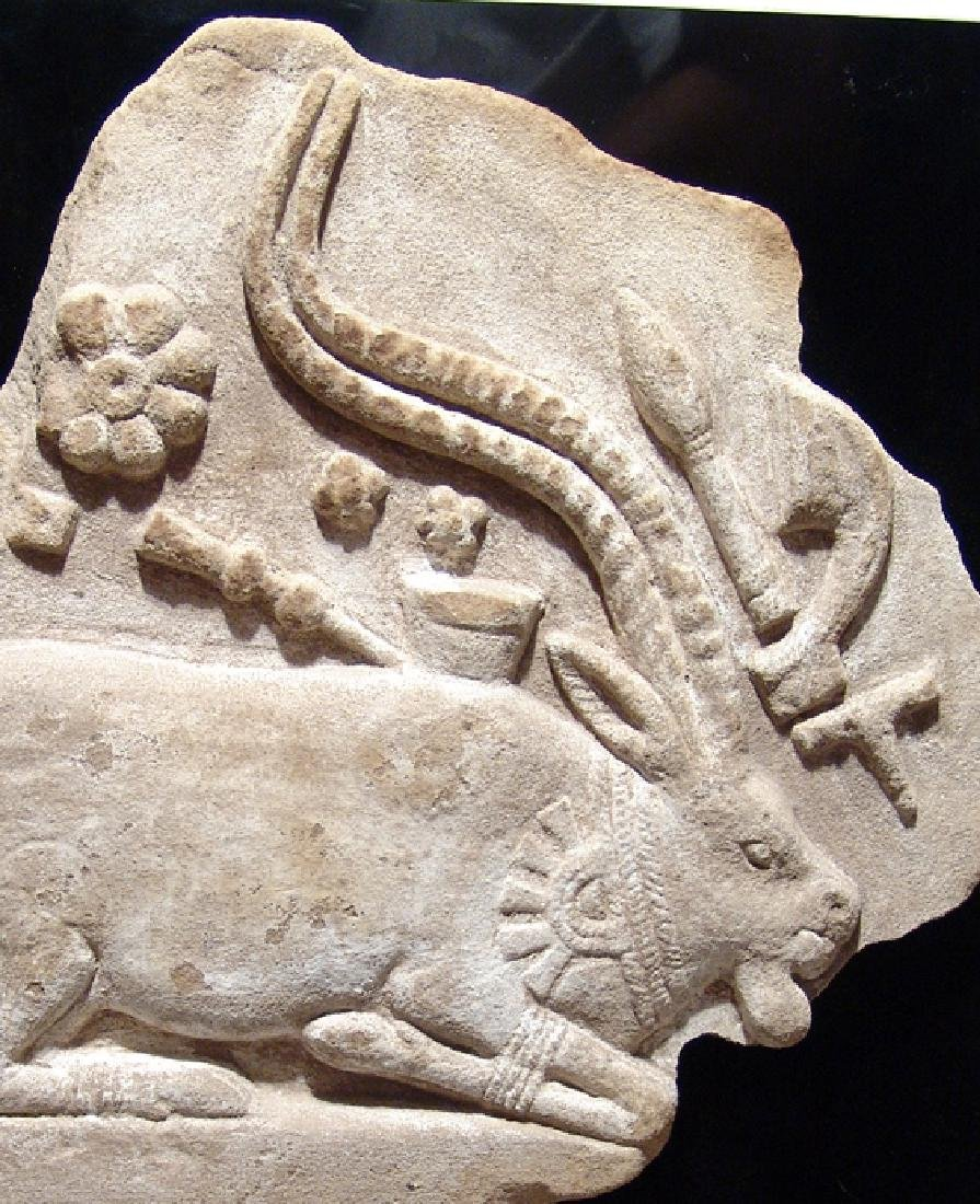 A choice Indus Valley sandstone relief of kneeling ibex - 2