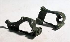 A pair of bronze Roman fibulae