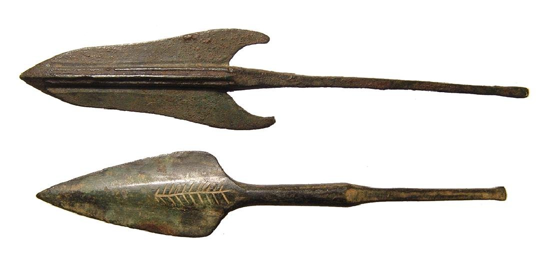 A pair of ancient bronze arrowheads