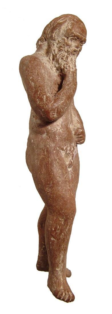 A fantastic Greek terracotta figurine of an elderly - 3
