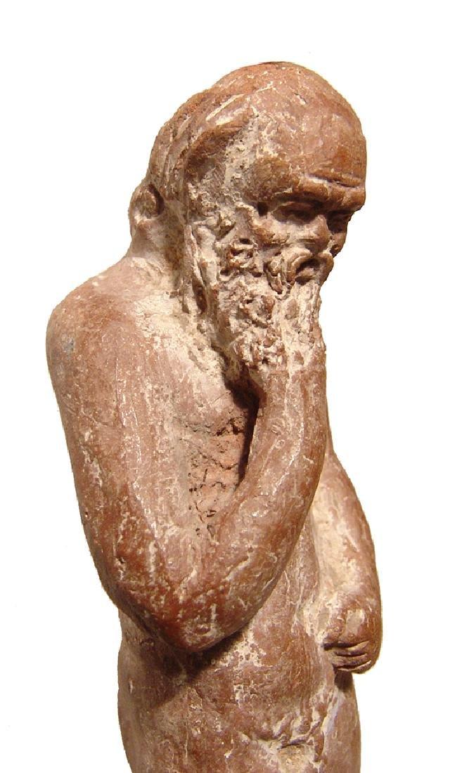 A fantastic Greek terracotta figurine of an elderly - 4