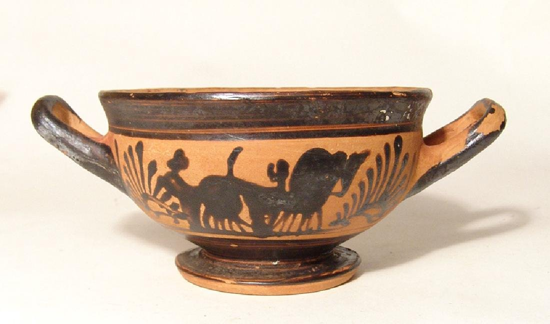 A Greek black-figure footed kylix