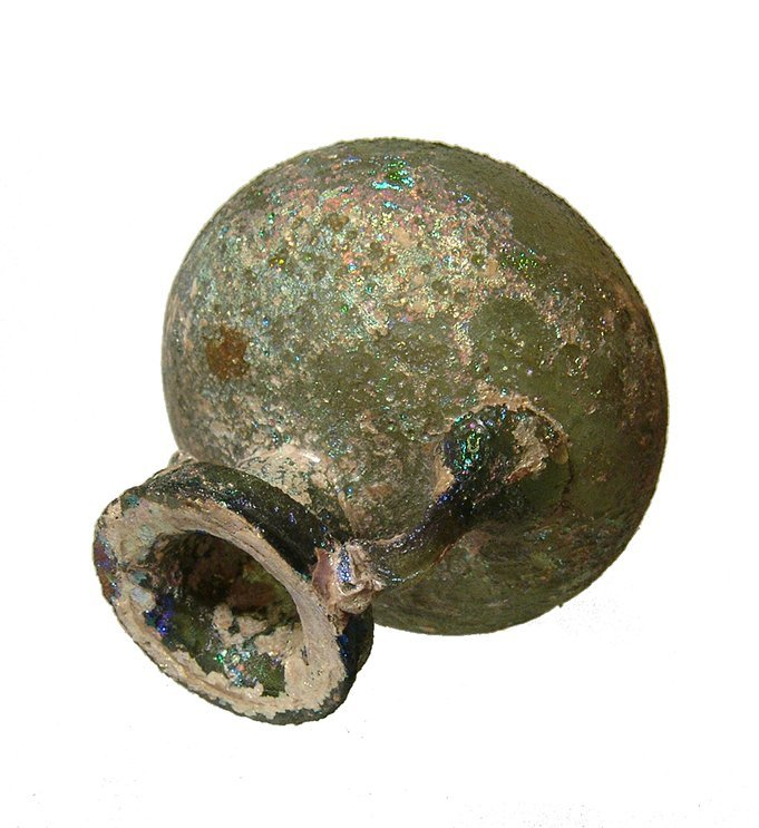 A nice Roman tallow-green glass aryballos - 5