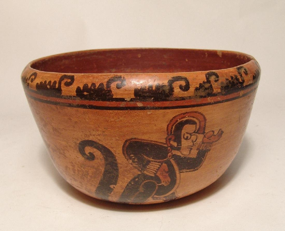 A beautiful Mayan polychrome bowl - 4