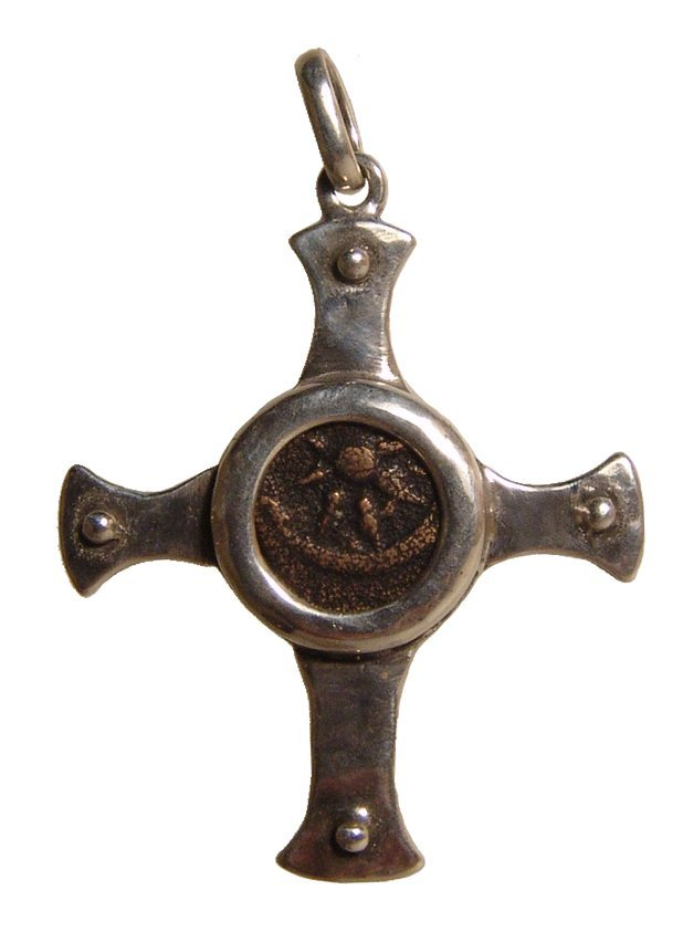 Lovely Judean silver cross pendant with a 'Widow's Mite