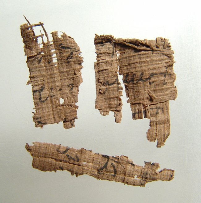 A group of 4 ancient Egyptian papyrus fragments