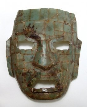 Green Jade Burial Mask In Teotihuacan Style, Mid-20th C