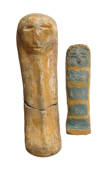 Pair of Egyptian highly stylized ushabtis, Late Period