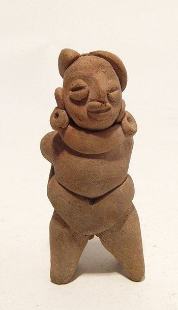 A choice Colima miniature whistle of a ball player