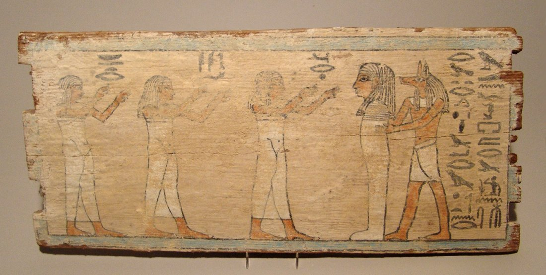 A beautiful Egyptian painted wood panel, Late Period