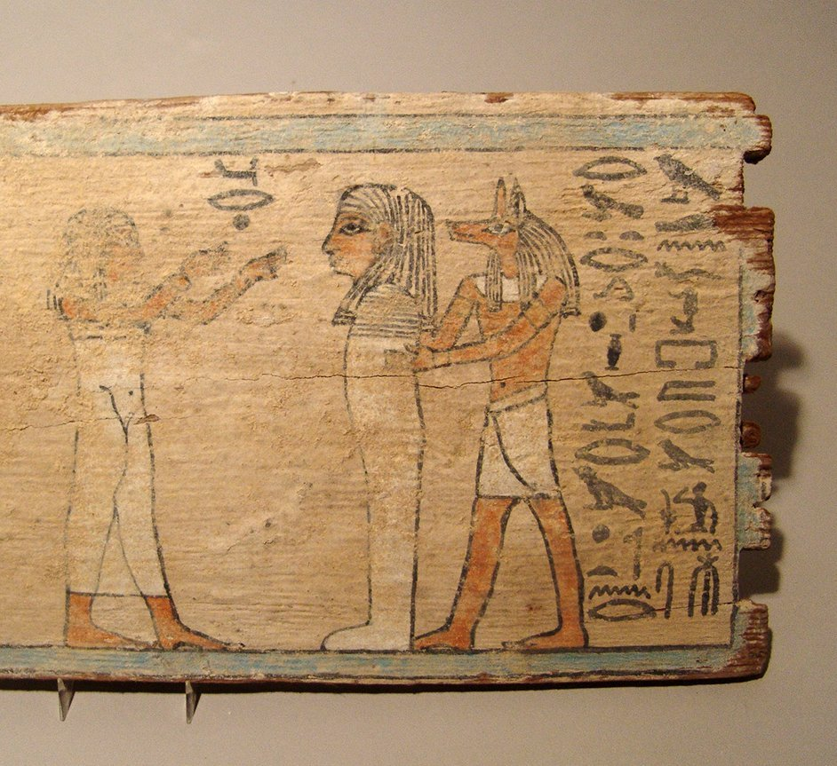 A beautiful Egyptian painted wood panel, Late Period - 3