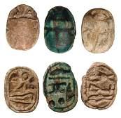 Lot of 3 Egyptian steatite scarabs, New Kingdom