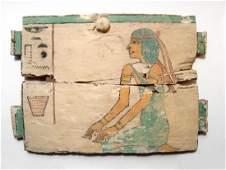 Beautiful Egyptian wood ushabti box panel, Late Period