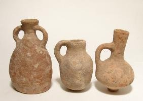 A group of 3 Holy land terracotta pottery vessels