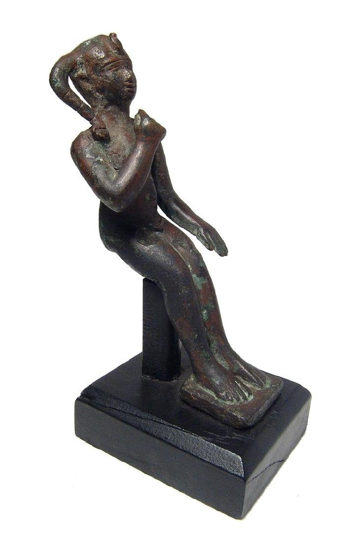 Fantastic Egyptian bronze figure of Harpokrates, 25th
