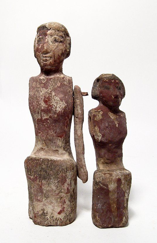 Pair of Egyptian wood painted boat figures,Middle