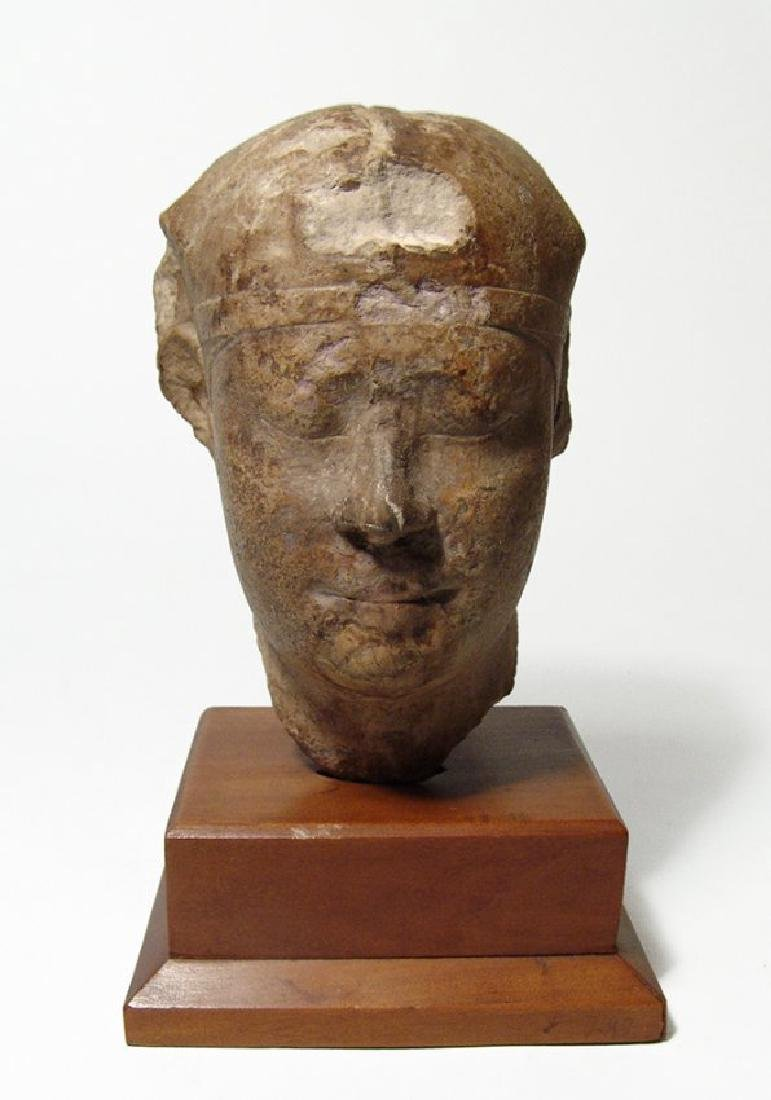 Nicely detailed Egyptian limestone head of a pharaoh