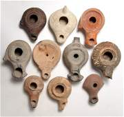 Great group of 10 Greek and Roman terracotta oil lamps