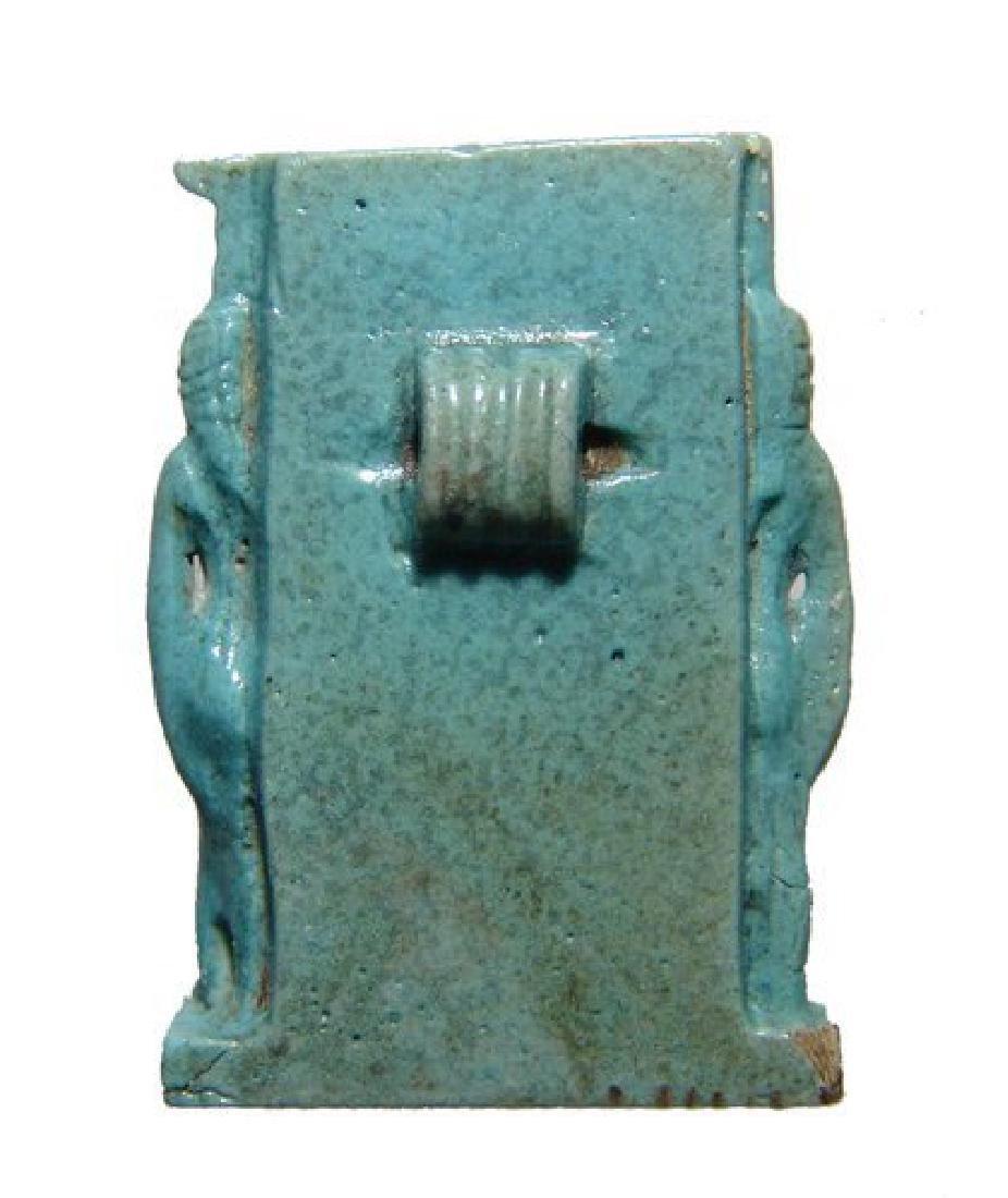 A stunning Egyptian light blue faience Triad amulet - 3