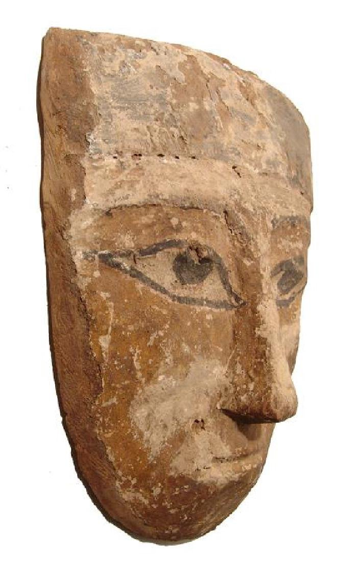 A large and colorful Egyptian wooden 'mummy' mask - 2