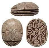 Nice Egyptian steatite scarab, 2nd Intermediate Period