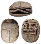 Egyptian steatite scarab with Tuthmosis III cartouche