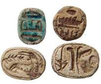 A lot of 4 Egyptian steatite scarabs and scaraboids