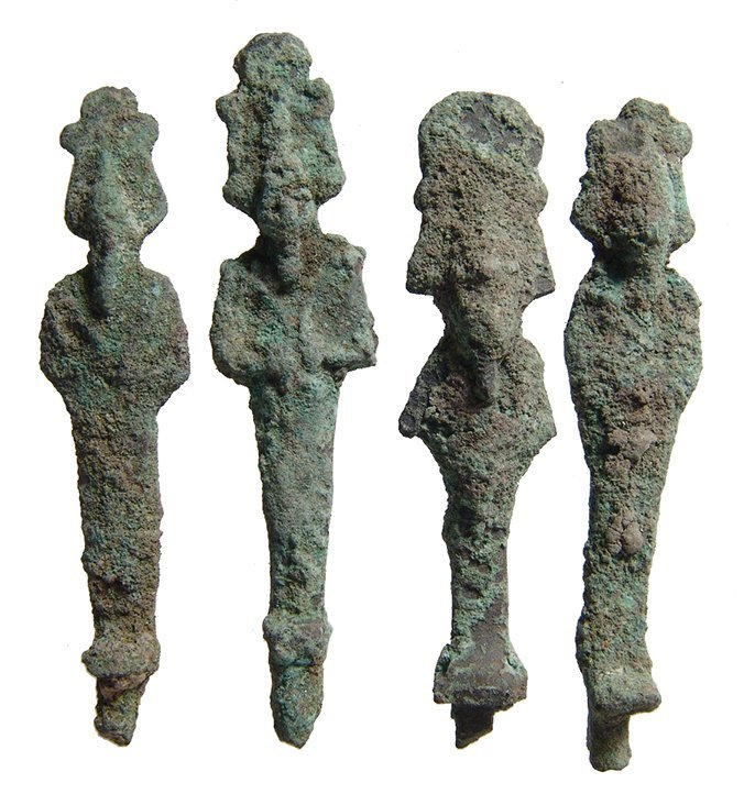 A group of 4 bronze figures of Osiris, Late Period