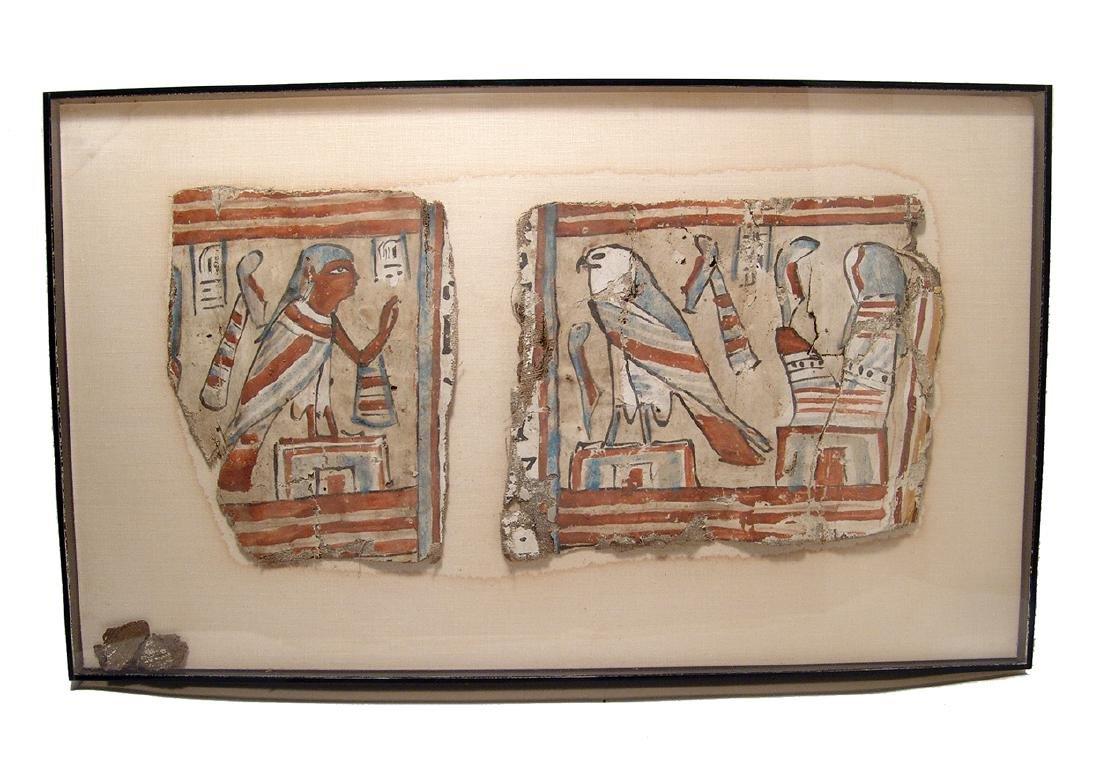 A lovely framed set of Egyptian cartonnage panels