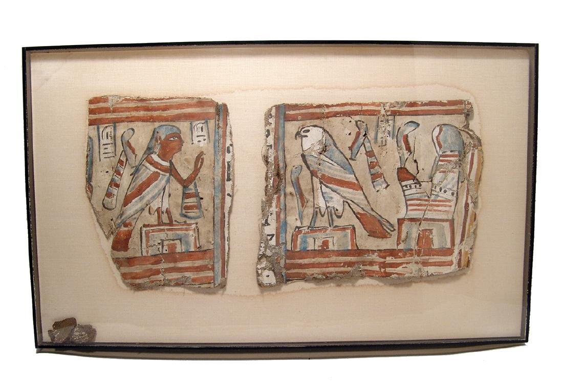A lovely framed set of Egyptian cartonnage panels