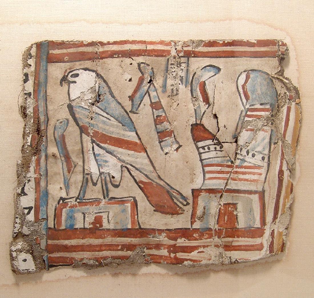A lovely framed set of Egyptian cartonnage panels - 2