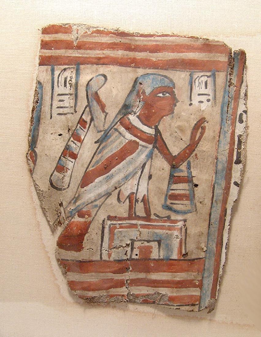A lovely framed set of Egyptian cartonnage panels - 3