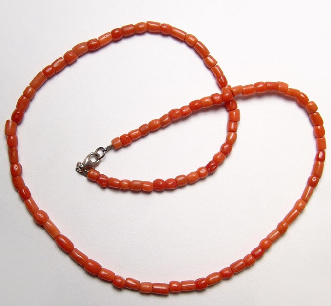 A strand of Romano-Egyptian orange coral beads - 2