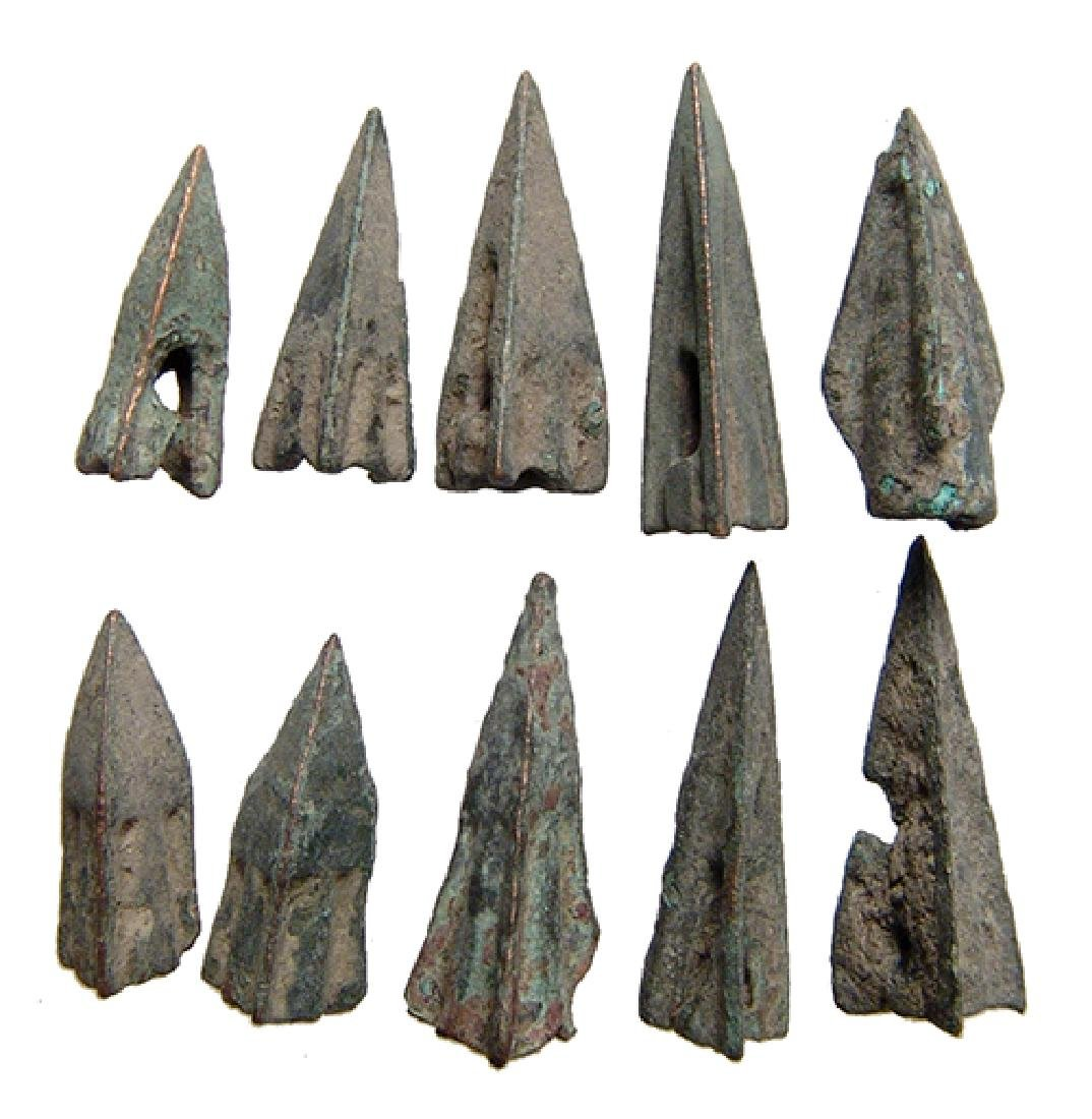 Group of 10 Roman bronze arrowheads, Republic