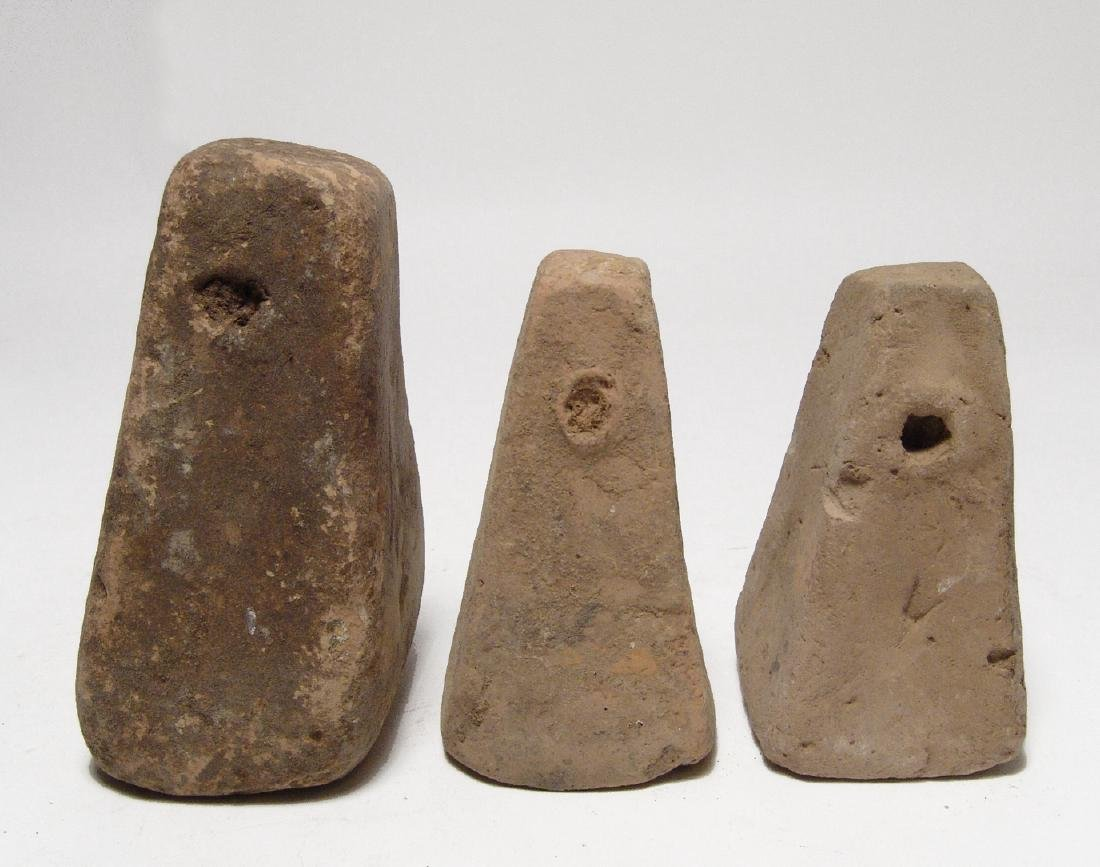 Trio of very large Greek pyramidal loom weights