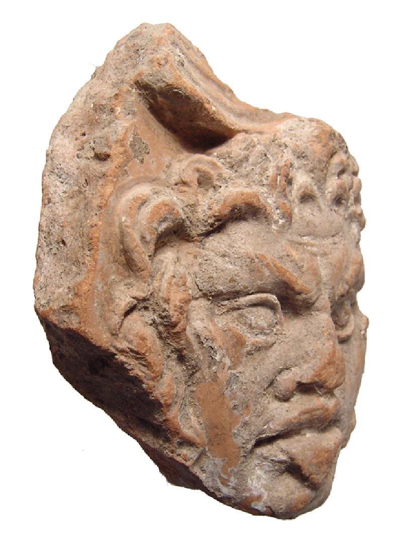 Roman terracotta antefix fragment depicting Silenus - 2