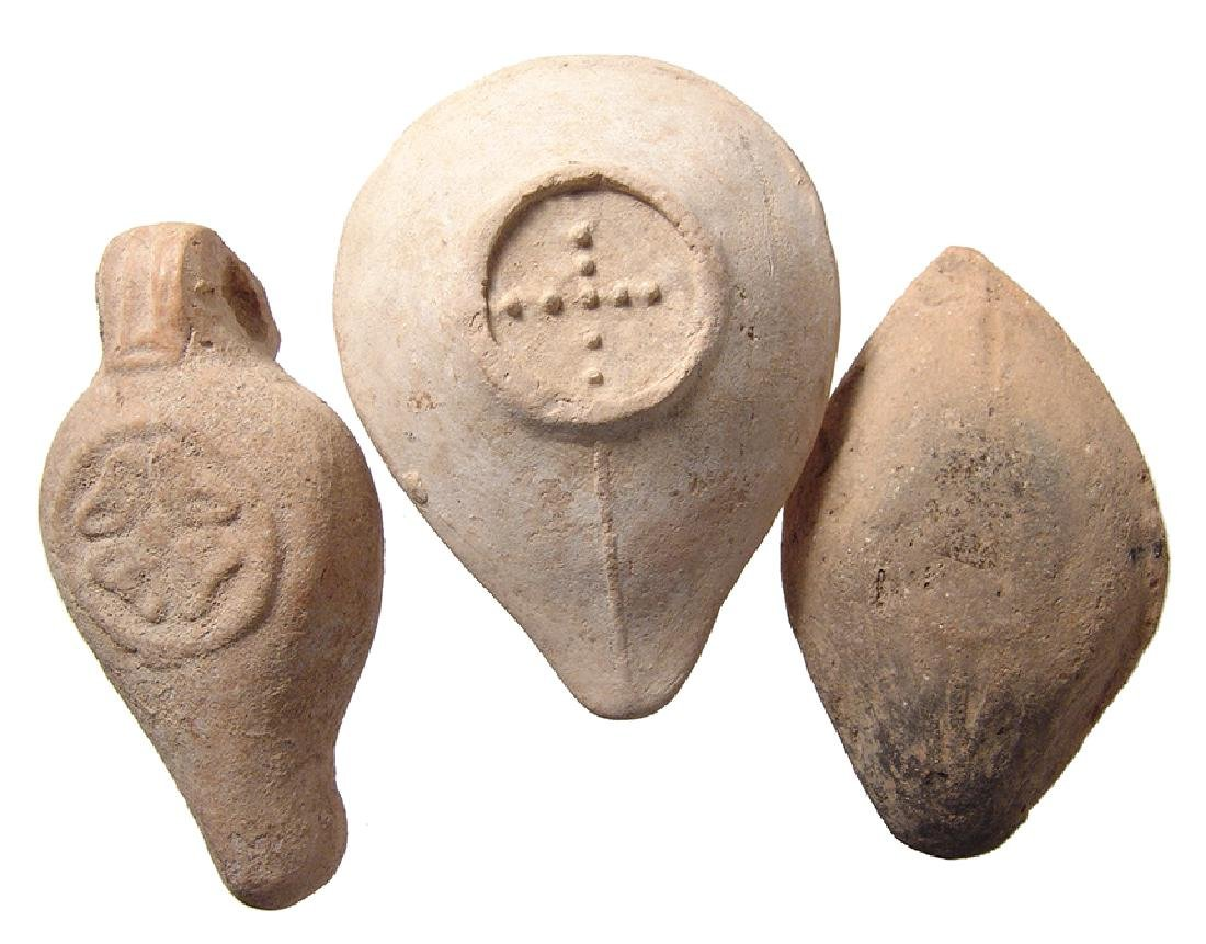 A lot of 3 ancient lamps from the Holy Land - 2