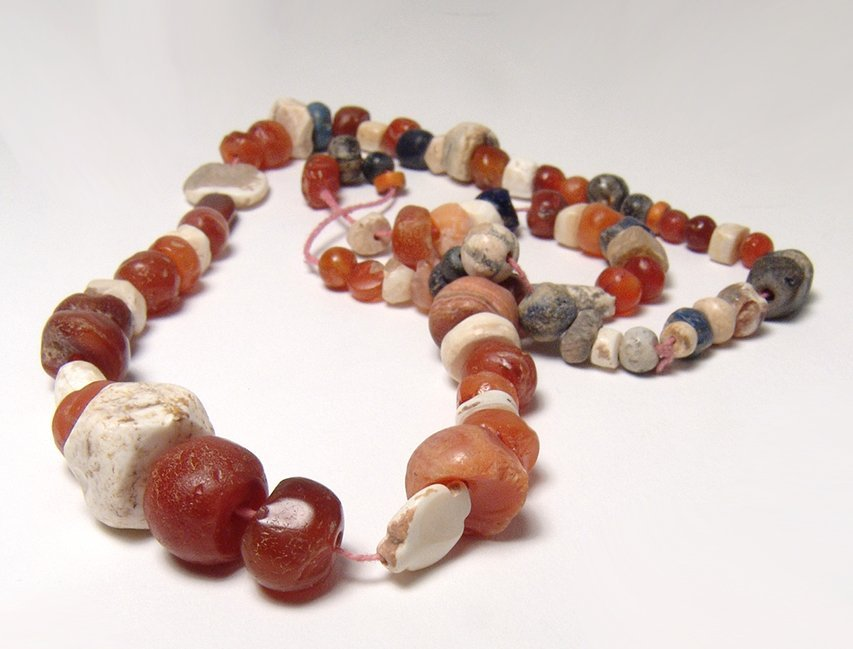 A strand of mixed ancient stone and shell beads - 2