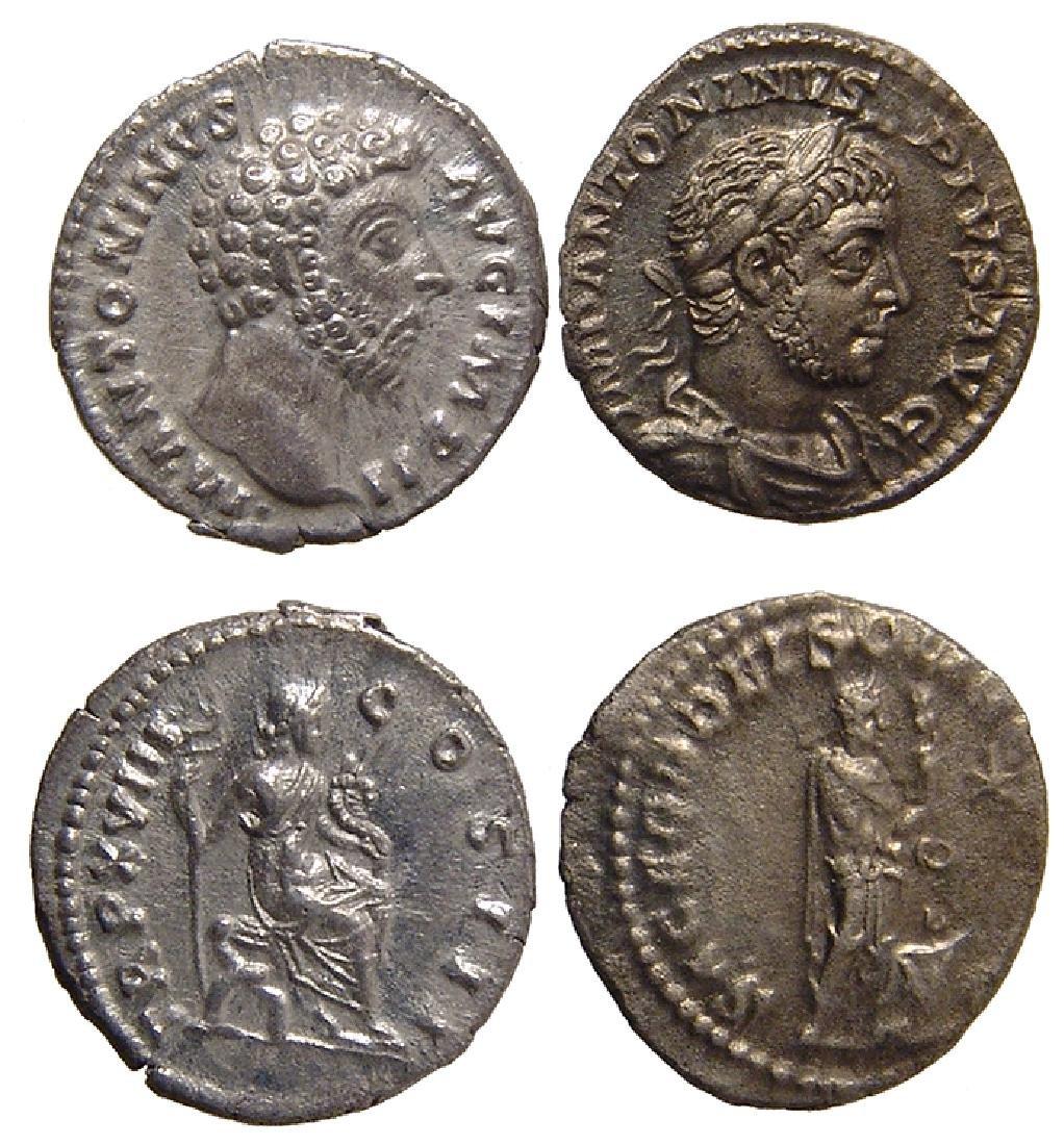2 Roman silver coins, Marcus Aurelius & Elagabalus