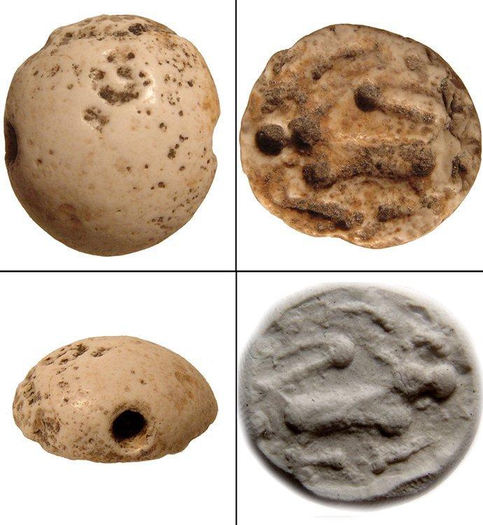 Jemdat Nasr white marble hemispherical stamp seal
