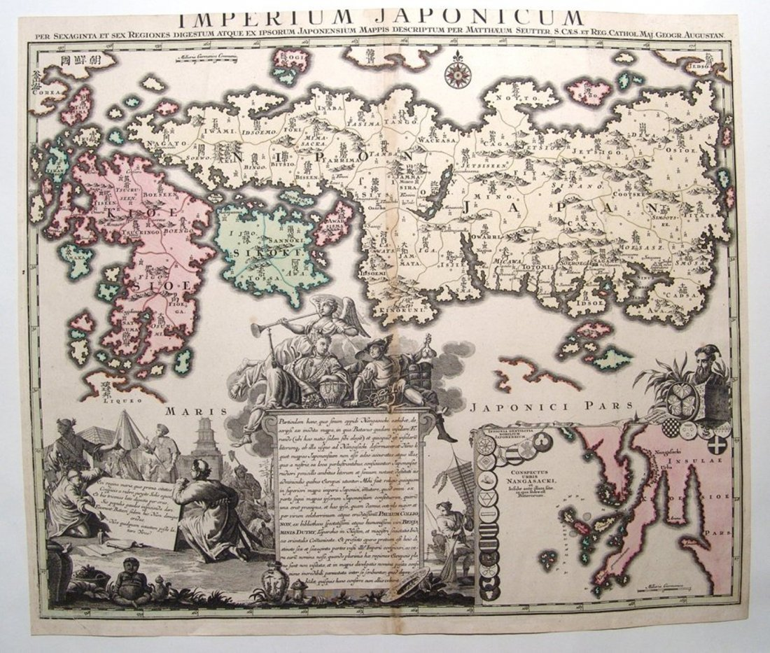 Large and impressive 18th C. map of the Empire of Japan