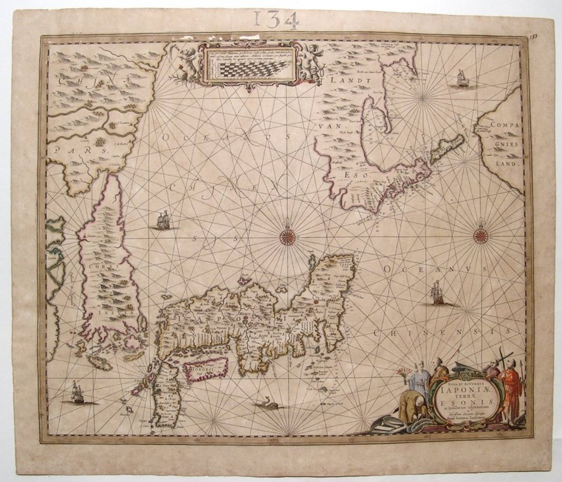 Fantastic Dutch 17th C. map of Japan & adjacent islands