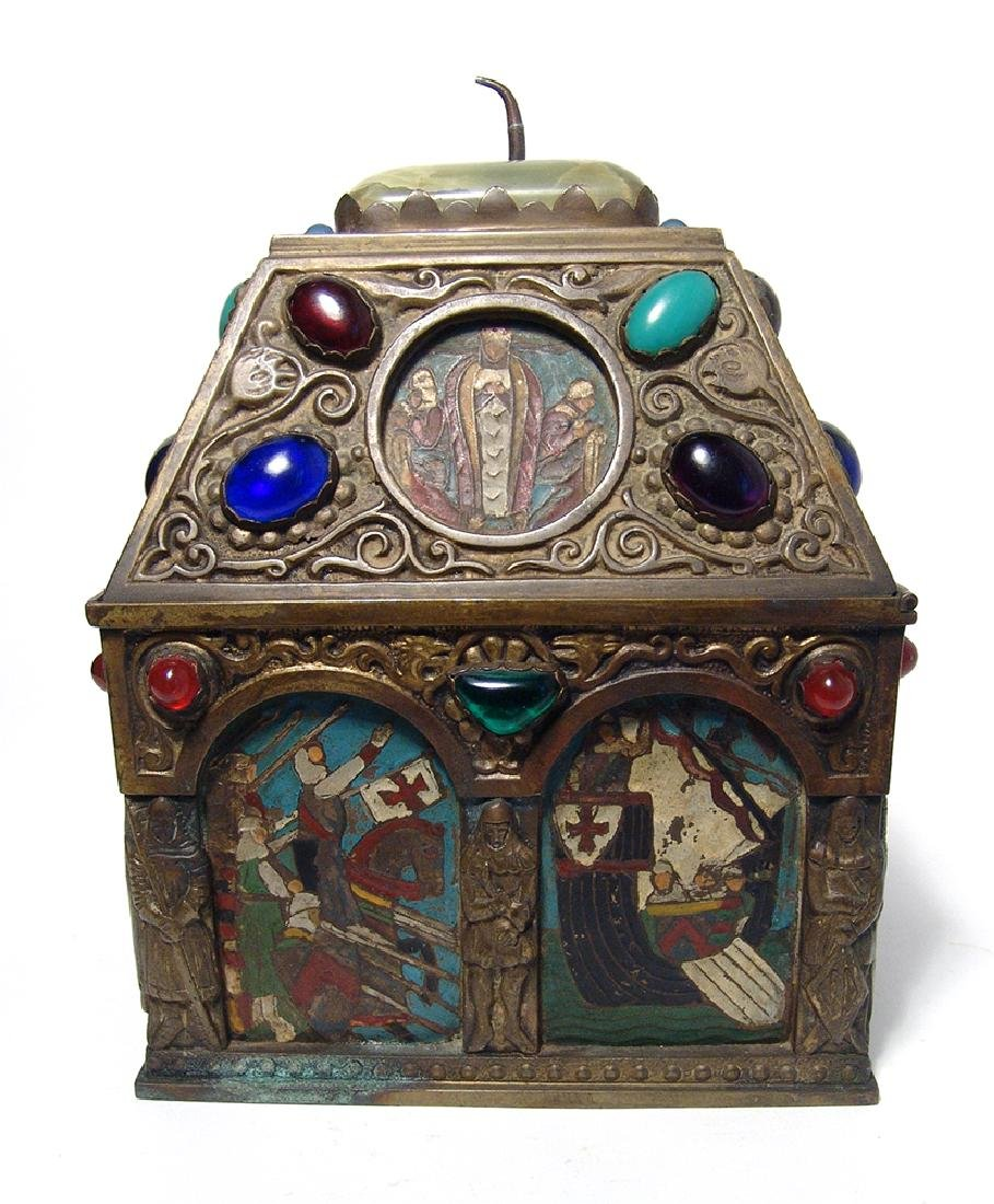 Wonderfully ornamented 19th C. bronze box, French