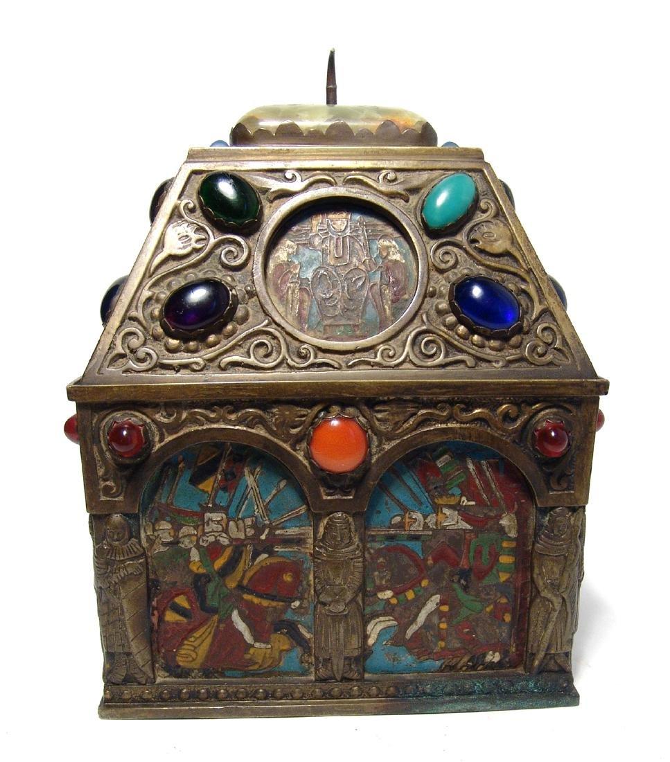 Wonderfully ornamented 19th C. bronze box, French - 2